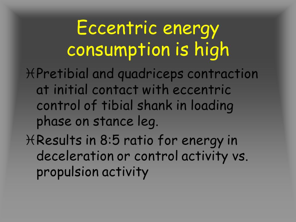 Eccentric energy consumption is high