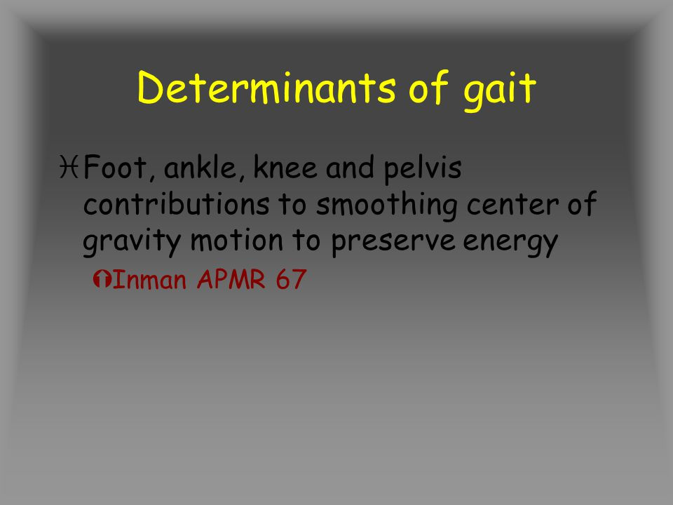 Determinants of gait Foot, ankle, knee and pelvis contributions to smoothing center of gravity motion to preserve energy.