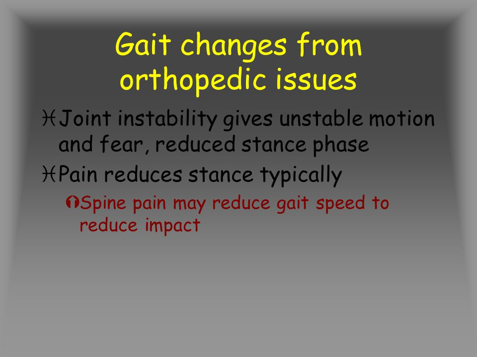 Gait changes from orthopedic issues