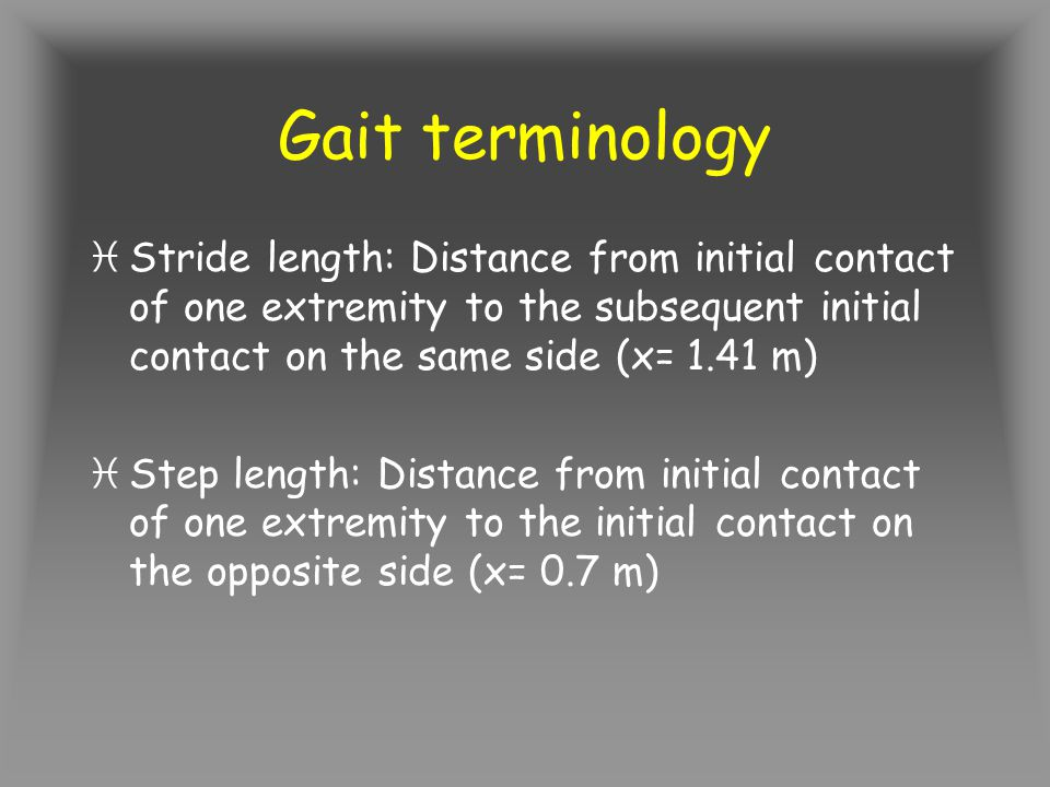 Gait terminology Stride length: Distance from initial contact of one extremity to the subsequent initial contact on the same side (x= 1.41 m)
