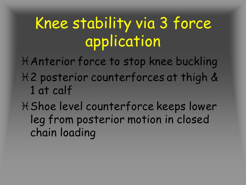 Knee stability via 3 force application