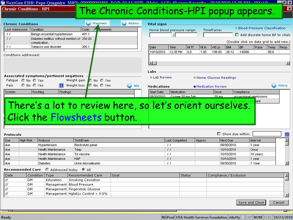 The Chronic Conditions-HPI popup appears.
