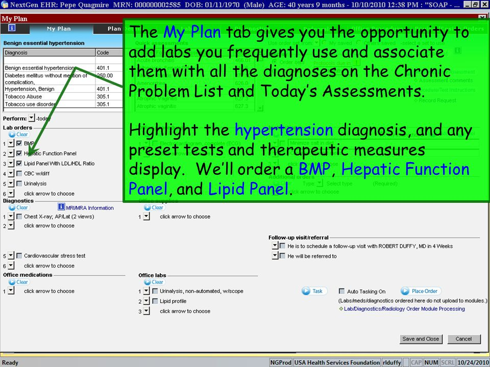 The My Plan tab gives you the opportunity to add labs you frequently use and associate them with all the diagnoses on the Chronic Problem List and Today's Assessments.