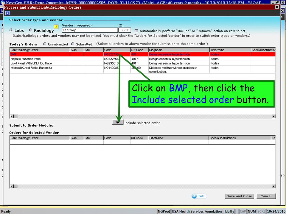 Click on BMP, then click the Include selected order button.