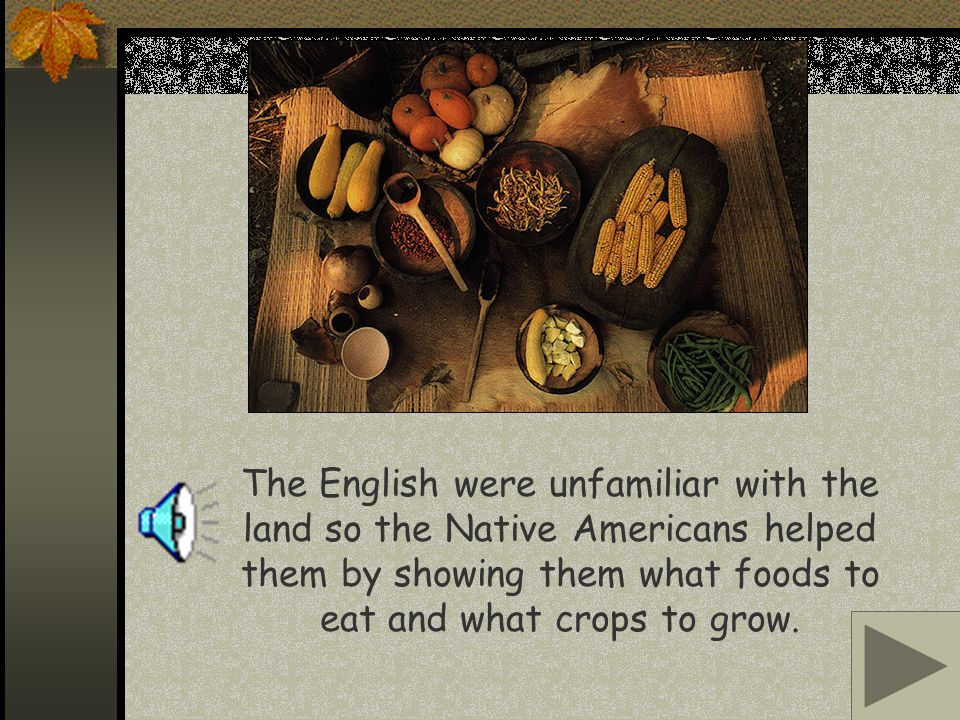 The English were unfamiliar with the land so the Native Americans helped them by showing them what foods to eat and what crops to grow.