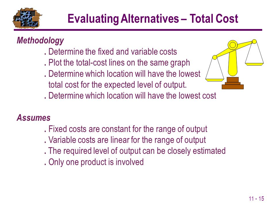 Evaluating Alternatives – Total Cost