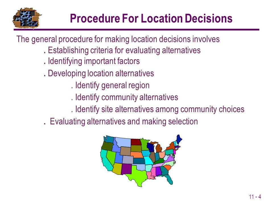 Procedure For Location Decisions