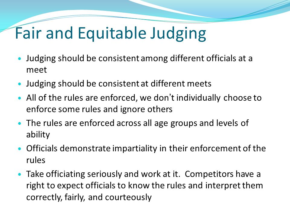 Fair and Equitable Judging