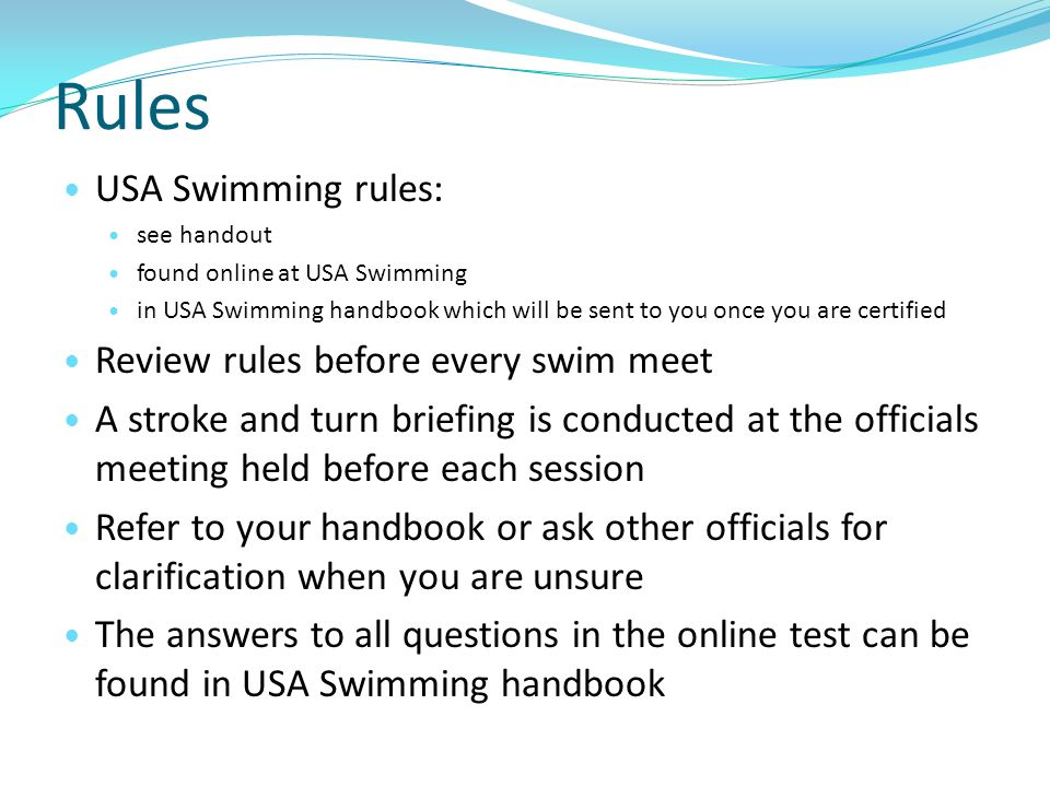 Rules USA Swimming rules: Review rules before every swim meet