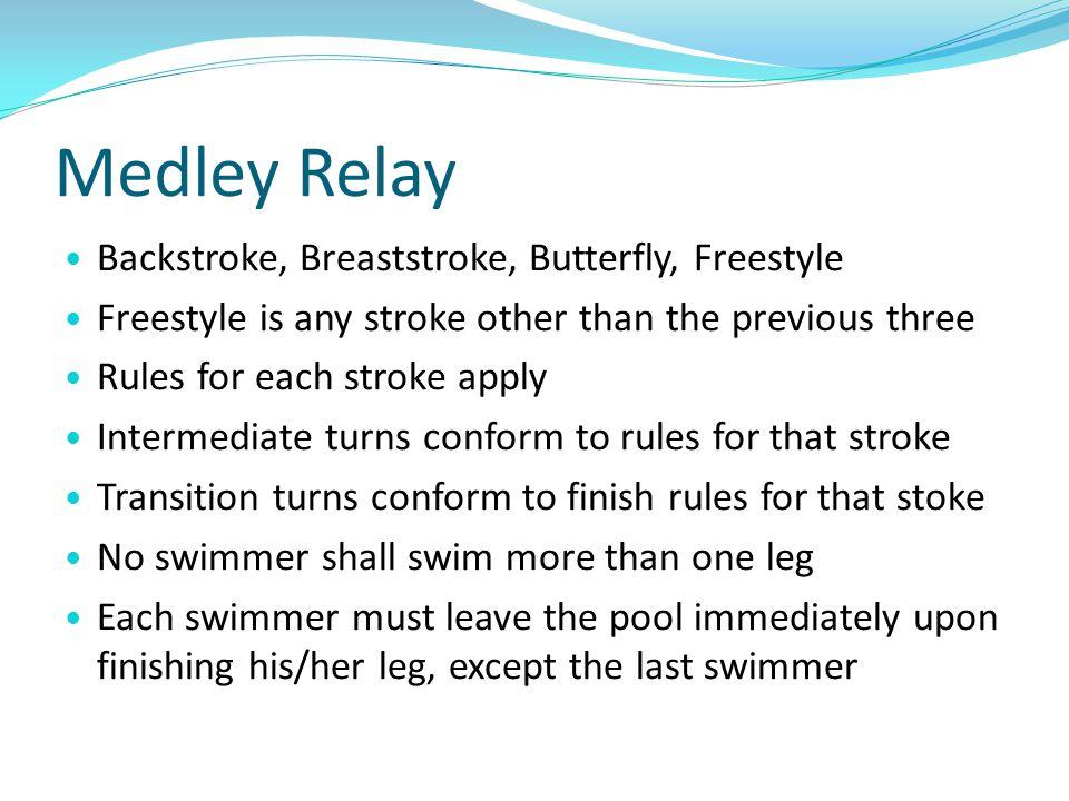 Medley Relay Backstroke, Breaststroke, Butterfly, Freestyle