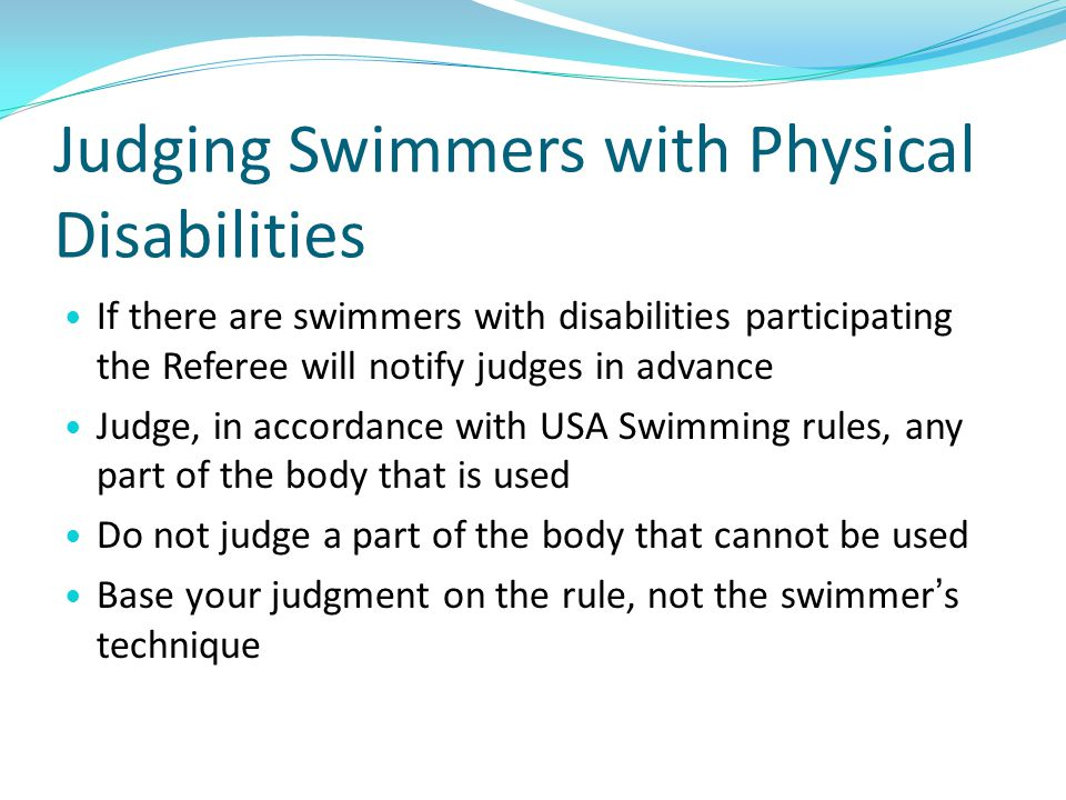 Judging Swimmers with Physical Disabilities