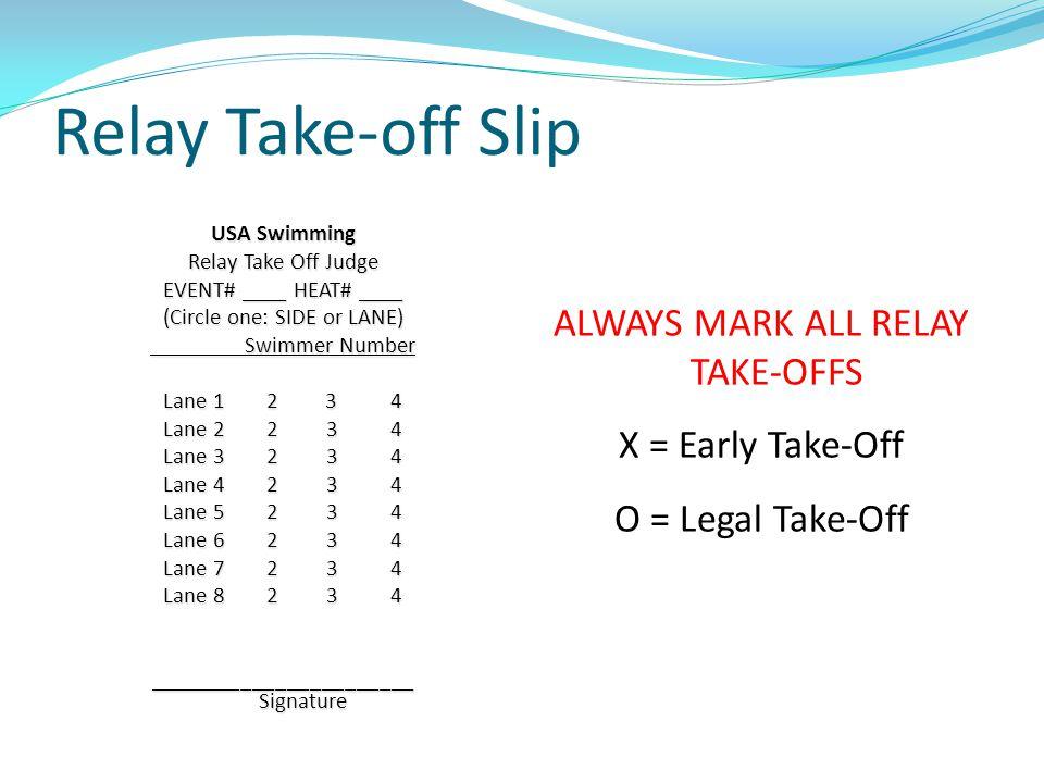ALWAYS MARK ALL RELAY TAKE-OFFS X = Early Take-Off O = Legal Take-Off