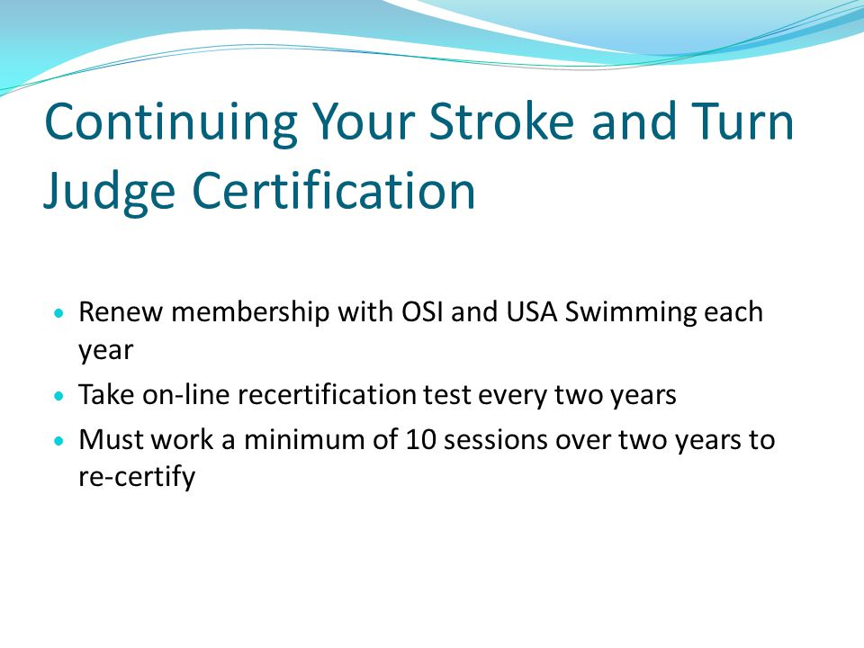 Continuing Your Stroke and Turn Judge Certification
