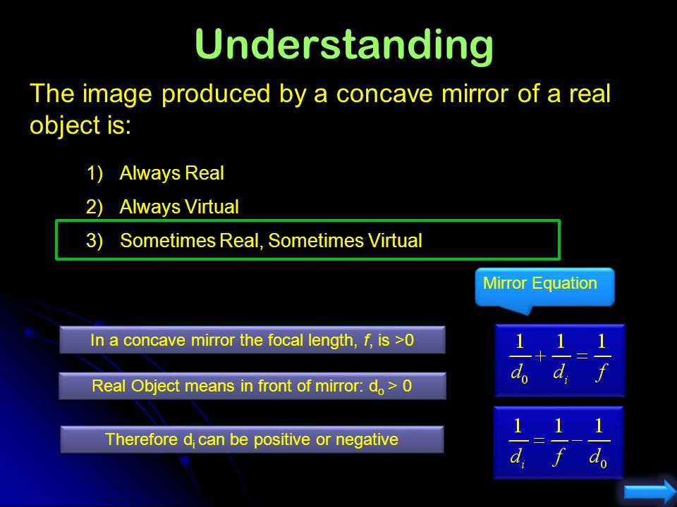 Understanding The image produced by a concave mirror of a real object is: Always Real. Always Virtual.