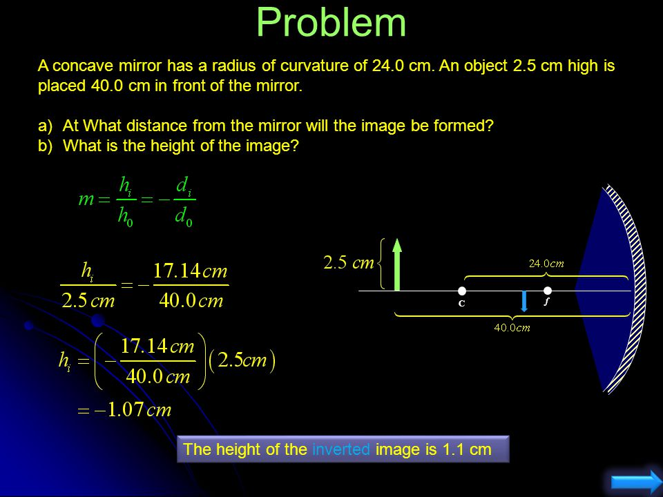 Problem A concave mirror has a radius of curvature of 24.0 cm. An object 2.5 cm high is placed 40.0 cm in front of the mirror.