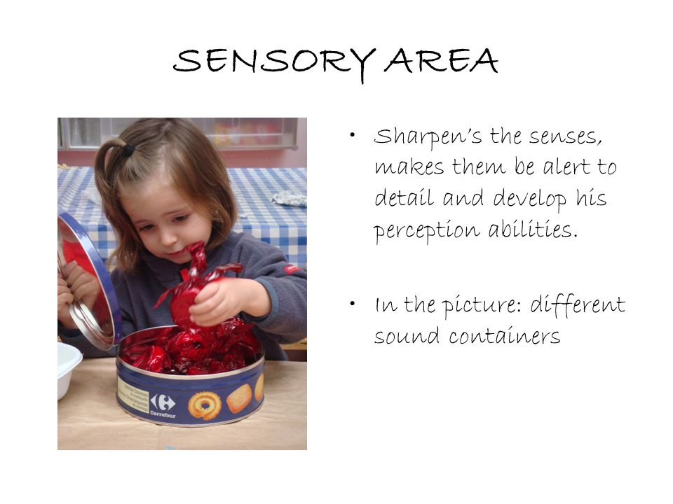 SENSORY AREA Sharpen's the senses, makes them be alert to detail and develop his perception abilities.