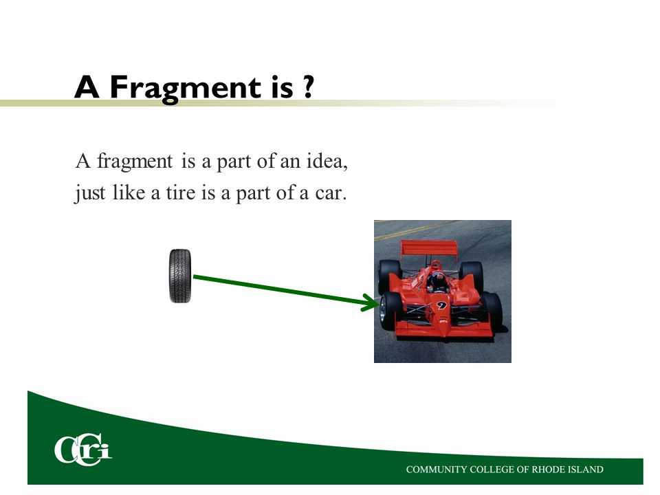 A Fragment is A fragment is a part of an idea,