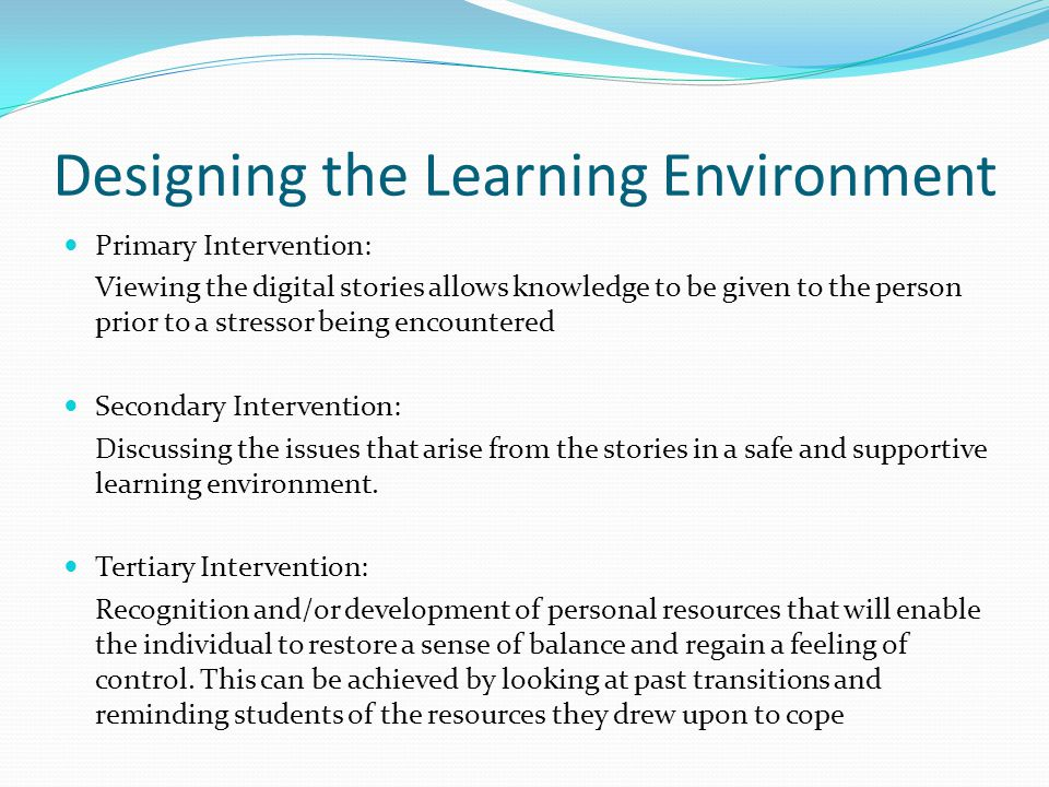 Designing the Learning Environment