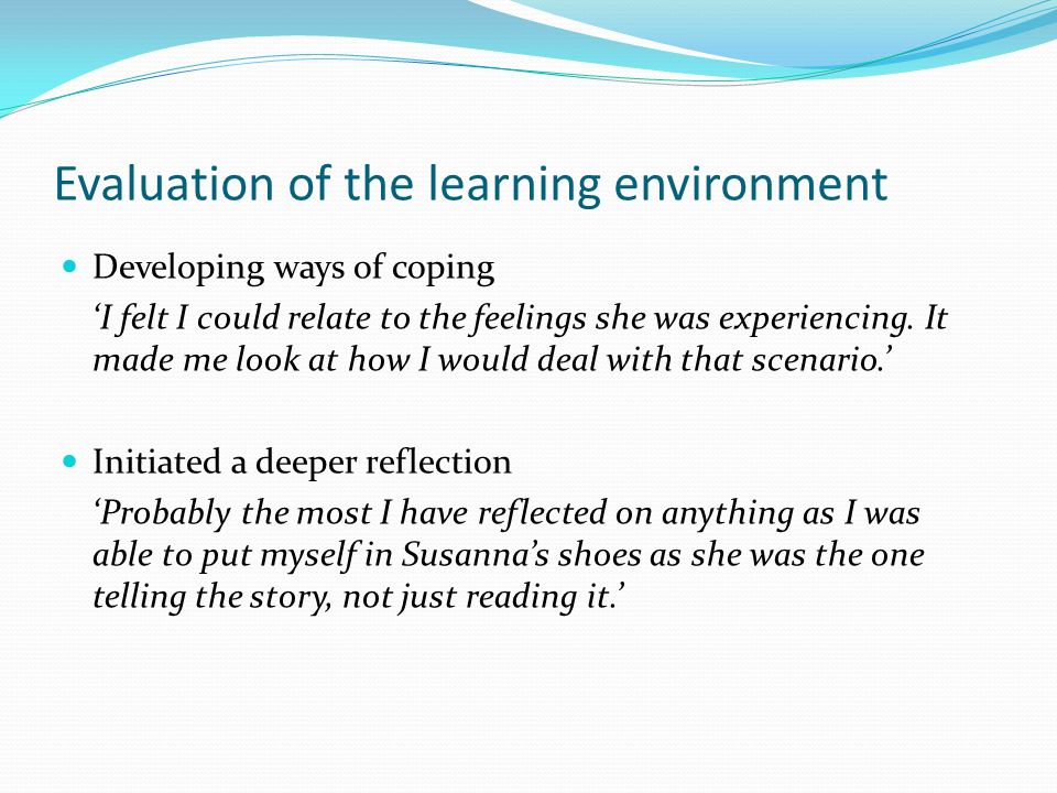 Evaluation of the learning environment