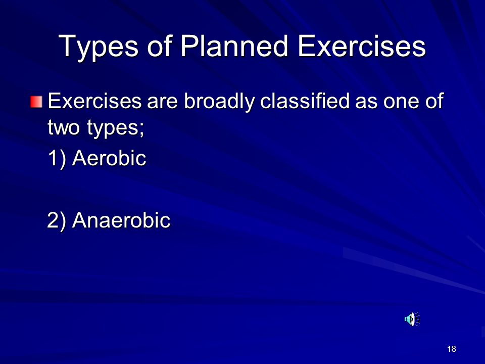 Types of Planned Exercises