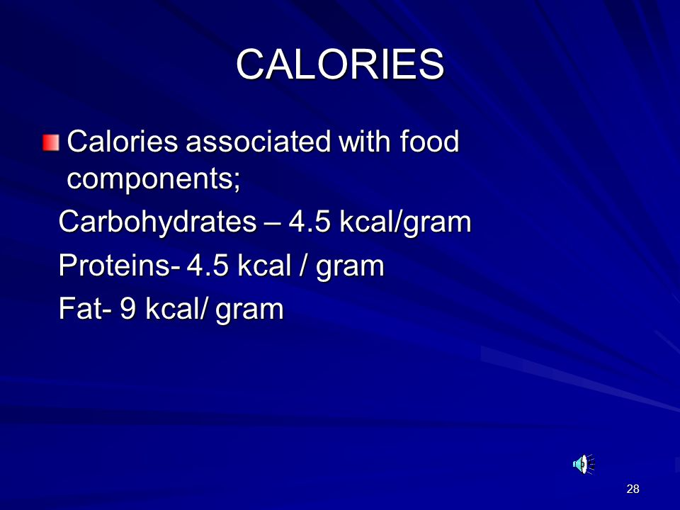 CALORIES Calories associated with food components;