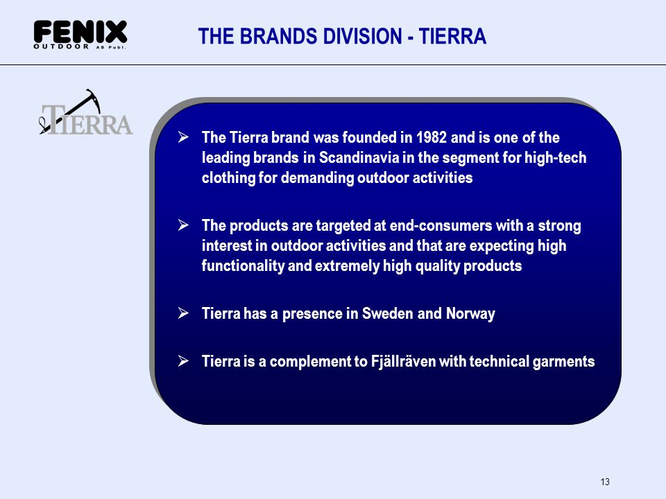 THE BRANDS DIVISION - TIERRA