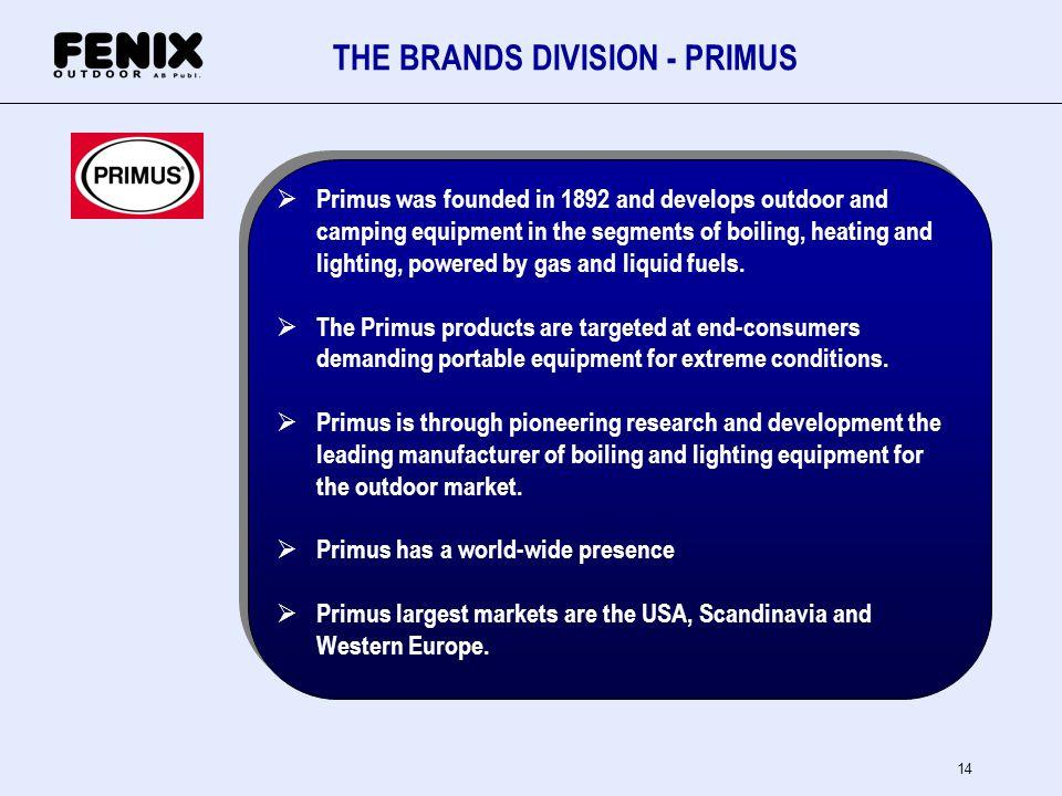 THE BRANDS DIVISION - PRIMUS