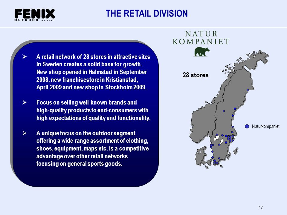 THE RETAIL DIVISION 28 stores