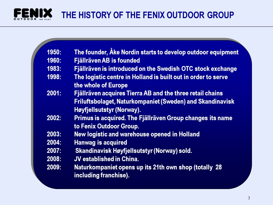 THE HISTORY OF THE FENIX OUTDOOR GROUP