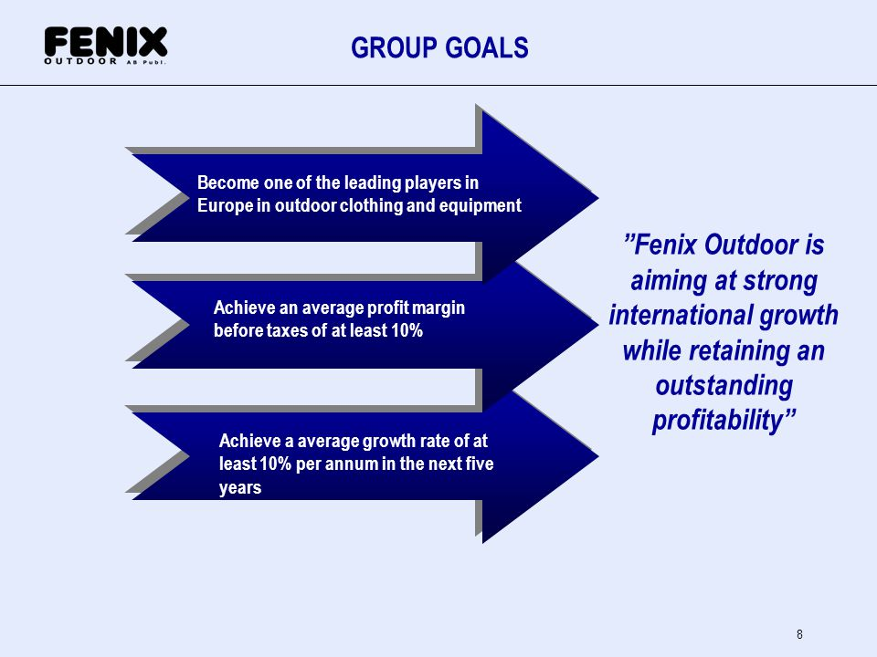 GROUP GOALS Become one of the leading players in. Europe in outdoor clothing and equipment.