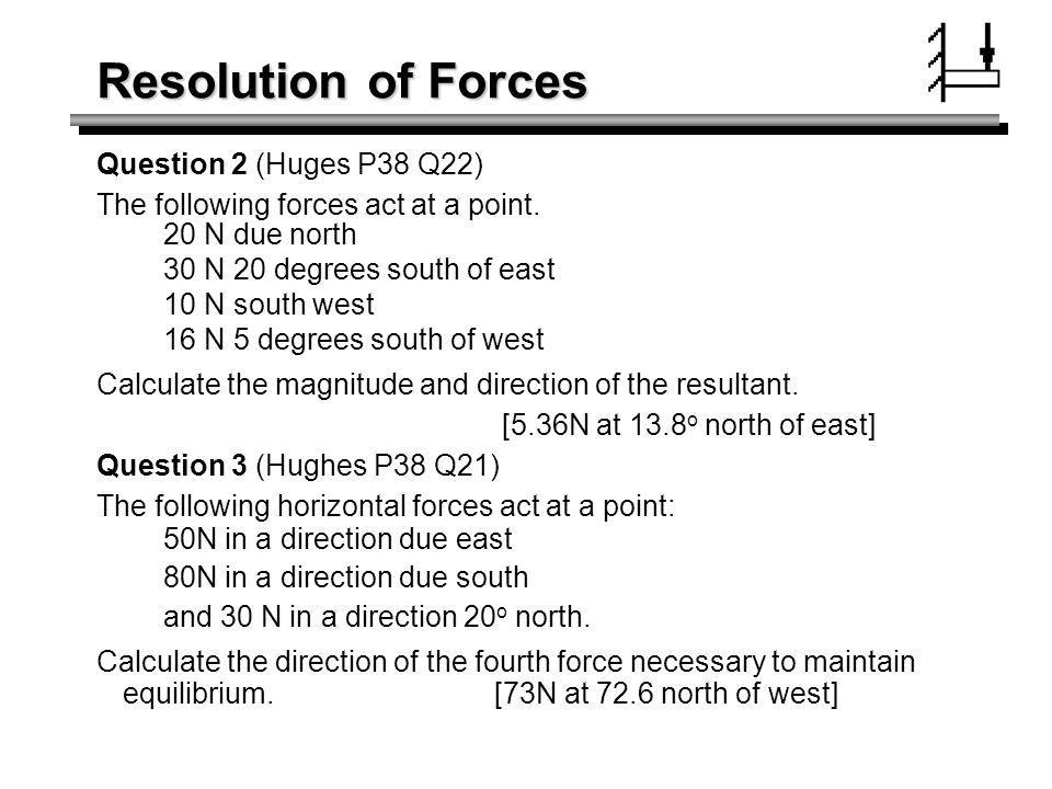 Resolution of Forces Question 2 (Huges P38 Q22)