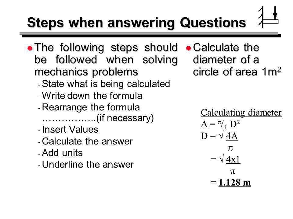 Steps when answering Questions