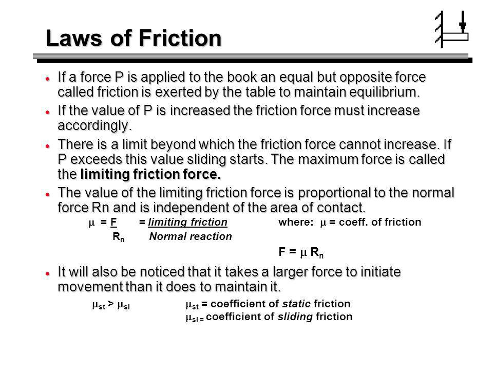 Laws of Friction If a force P is applied to the book an equal but opposite force called friction is exerted by the table to maintain equilibrium.