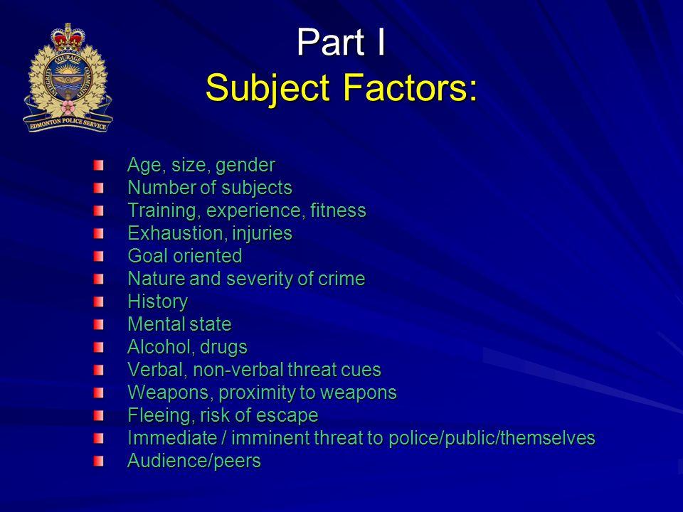 Part I Subject Factors: