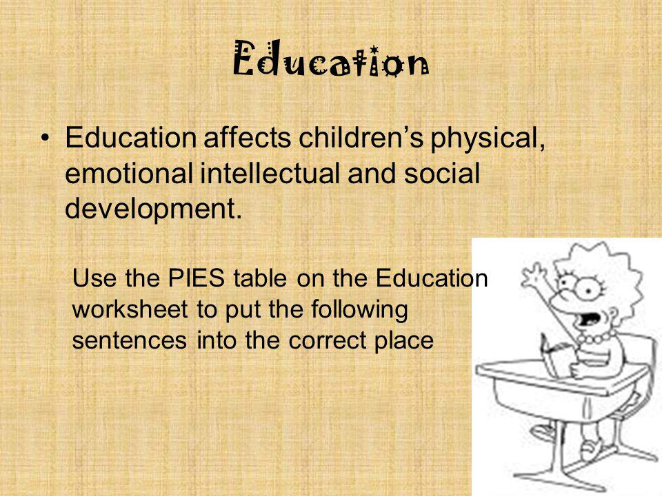 Education Education affects children's physical, emotional intellectual and social development.