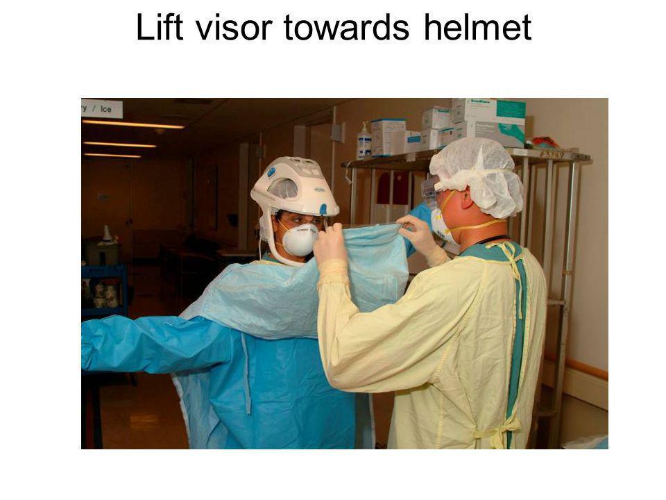 Lift visor towards helmet