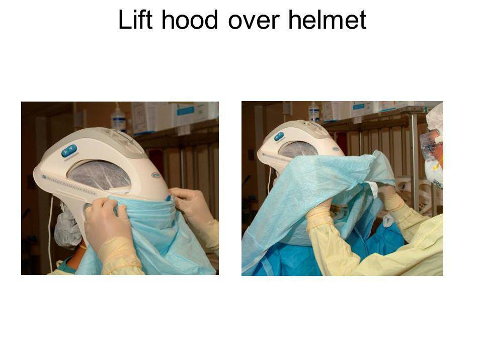 Lift hood over helmet