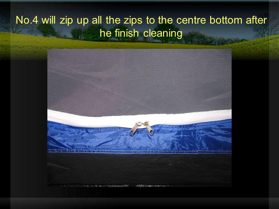 No.4 will zip up all the zips to the centre bottom after he finish cleaning