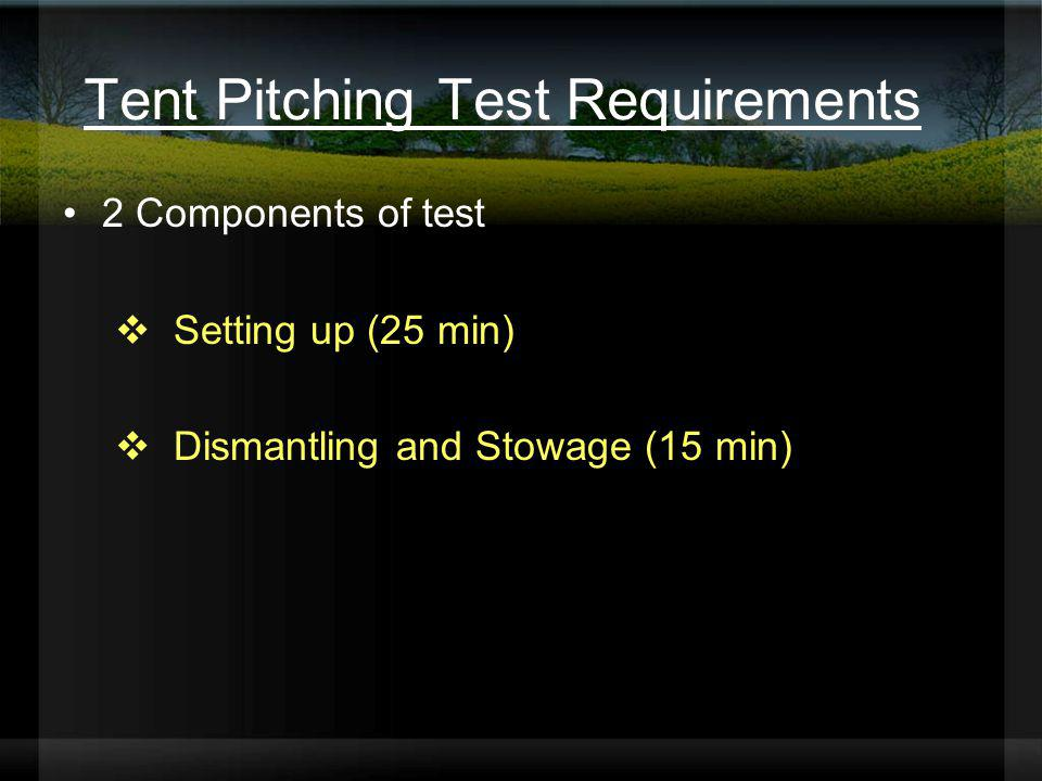 Tent Pitching Test Requirements