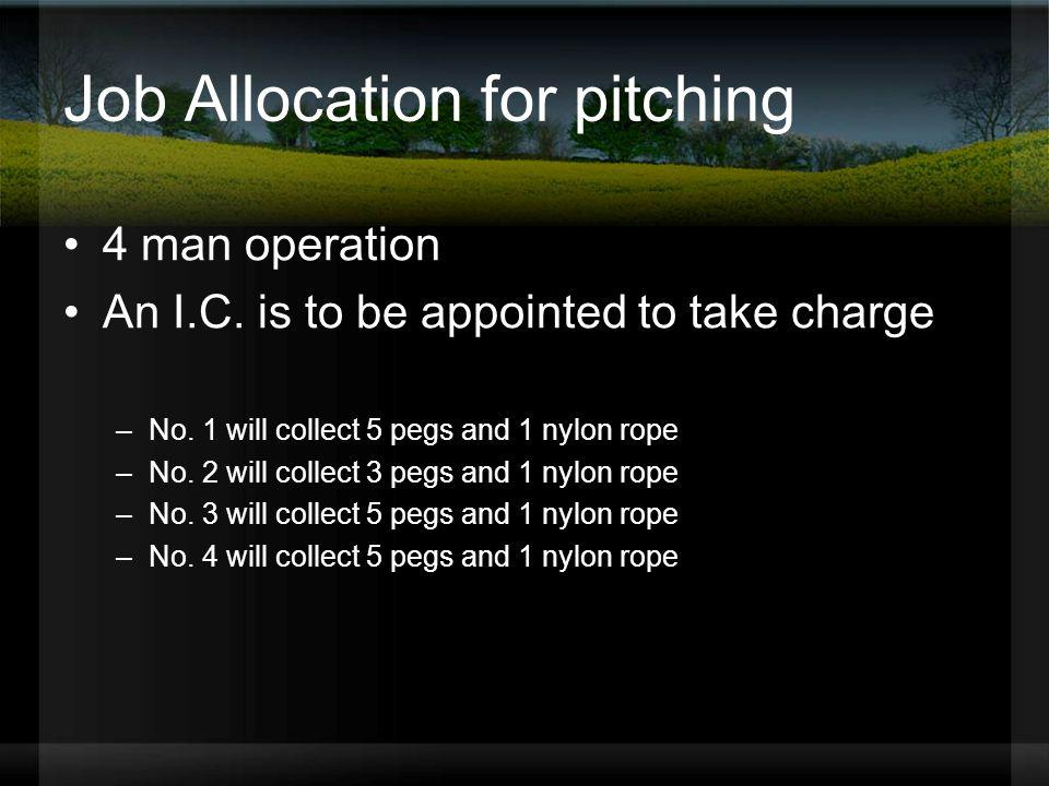 Job Allocation for pitching
