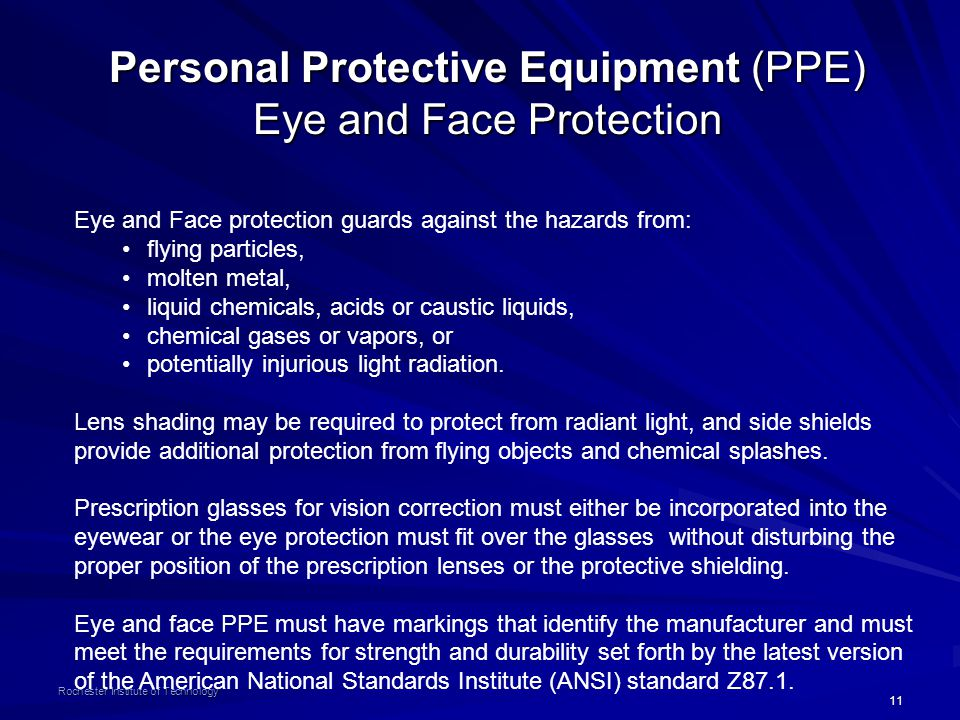Personal Protective Equipment (PPE) Eye and Face Protection