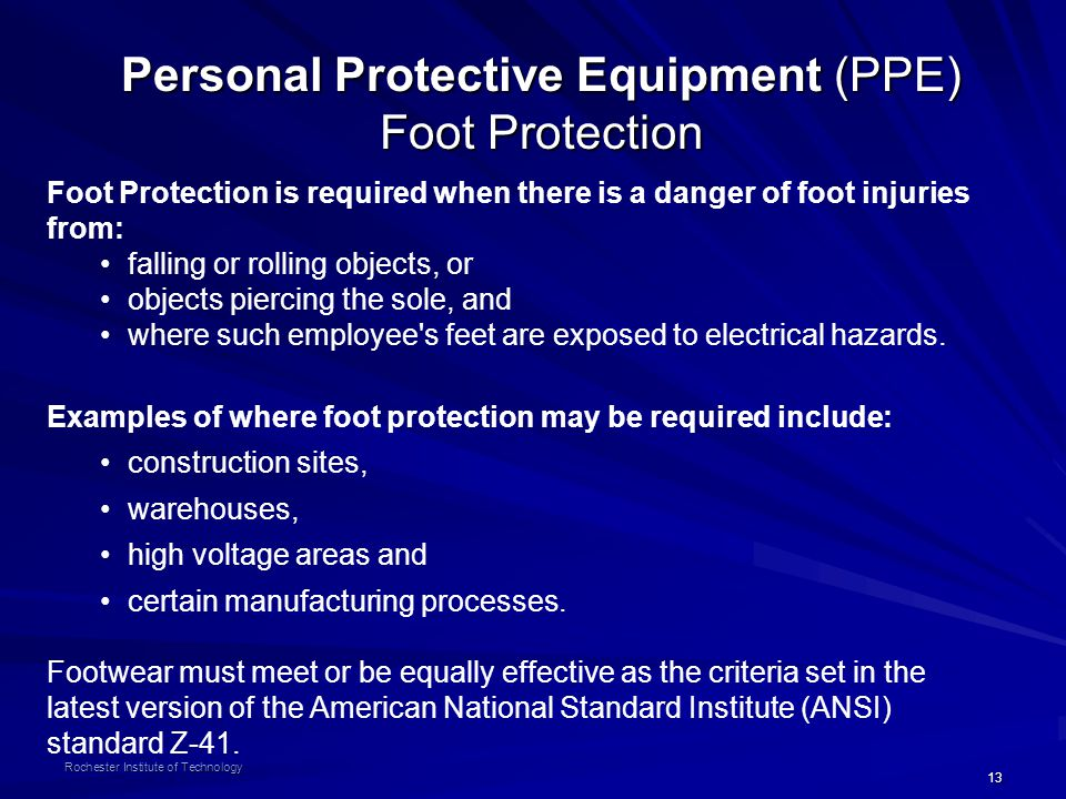 Personal Protective Equipment (PPE) Foot Protection