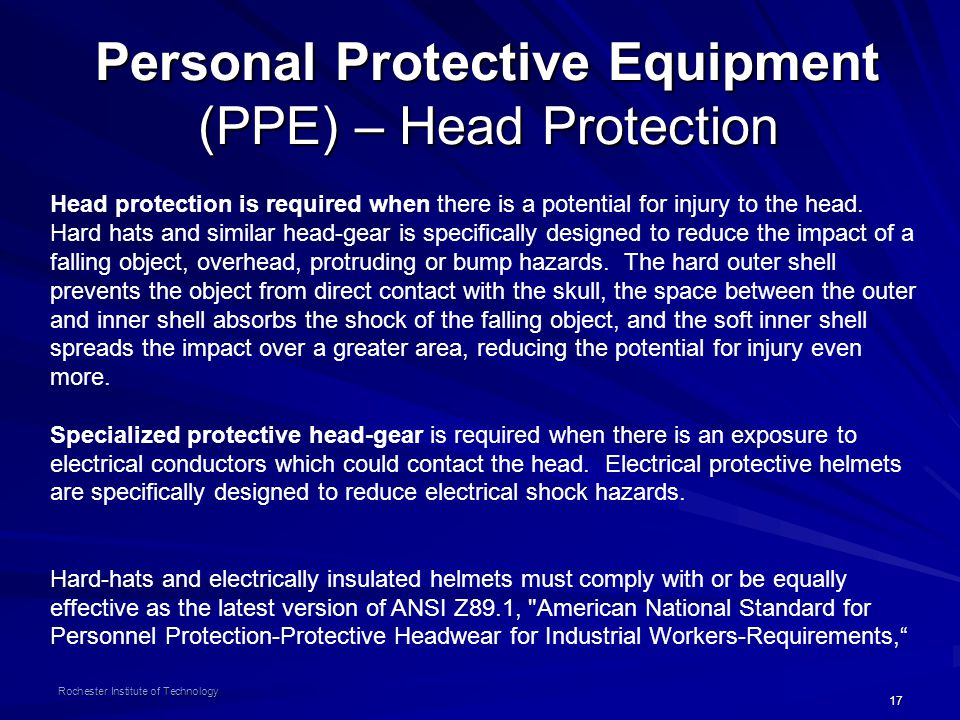 Personal Protective Equipment (PPE) – Head Protection