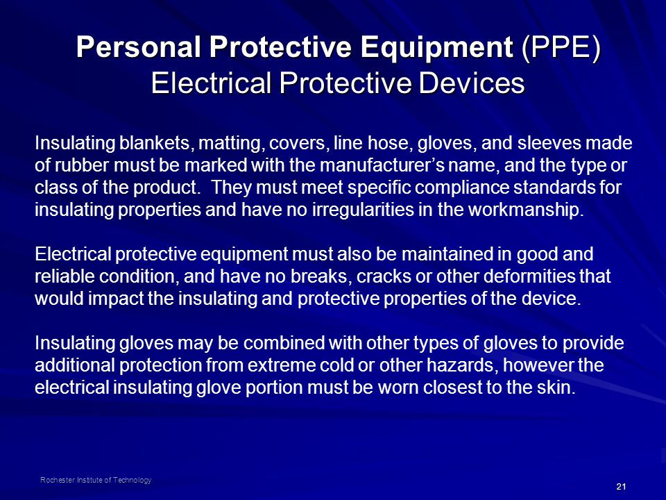 Personal Protective Equipment (PPE) Electrical Protective Devices