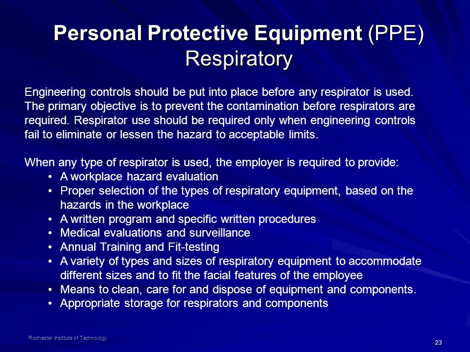 Personal Protective Equipment (PPE) Respiratory