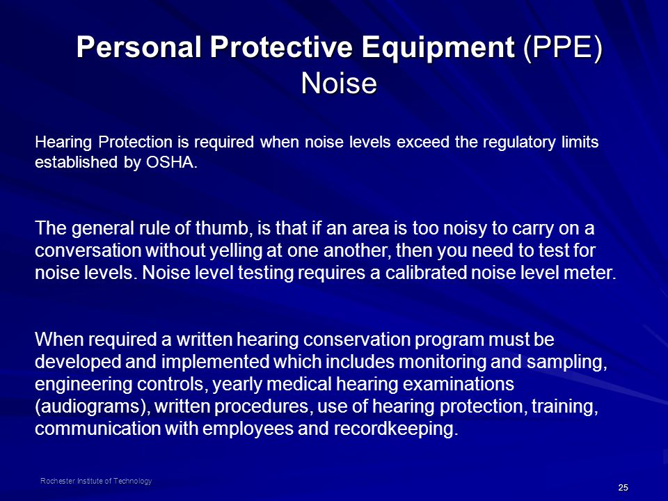 Personal Protective Equipment (PPE) Noise
