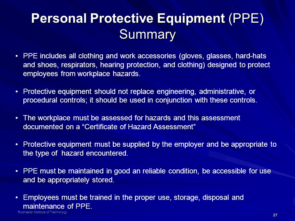 Personal Protective Equipment (PPE) Summary
