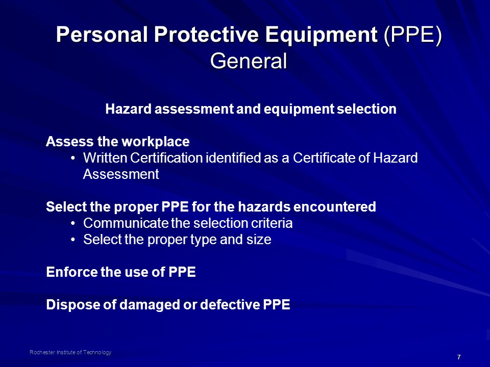 Hazard assessment and equipment selection