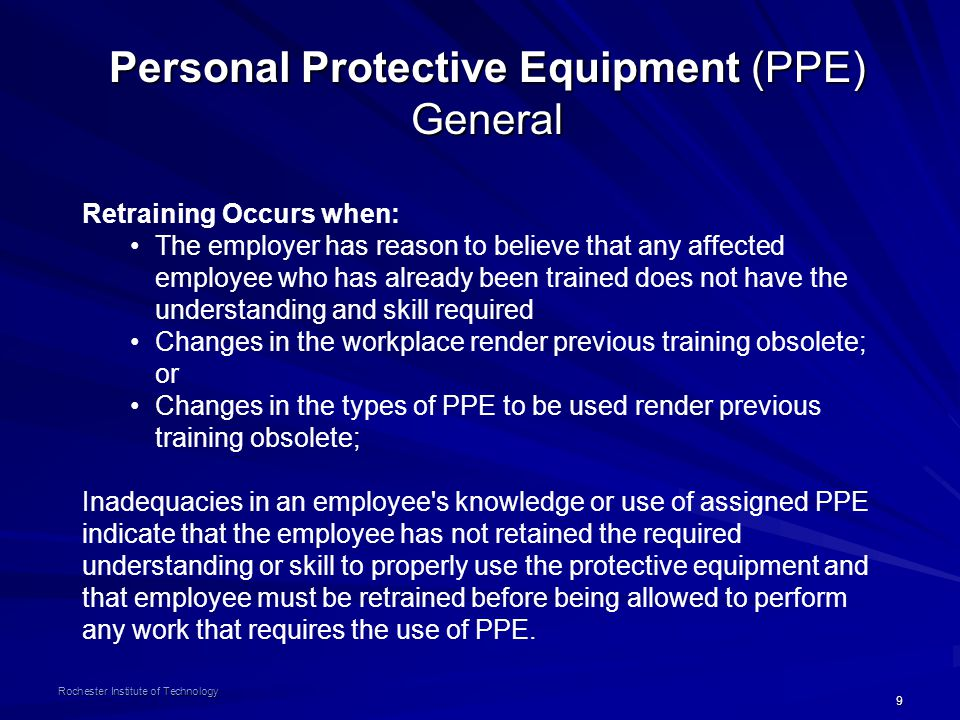 Personal Protective Equipment (PPE) General