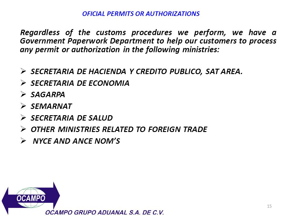 OFICIAL PERMITS OR AUTHORIZATIONS